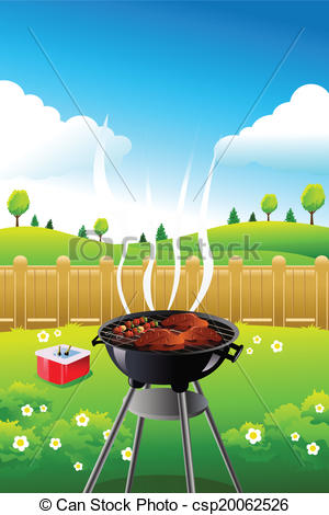 Barbecue clipart bbq party  of poster Illustration vector
