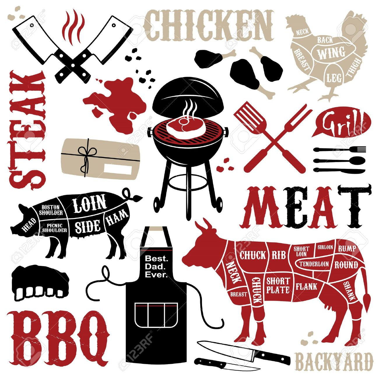 Barbecue clipart bbq rib 704 1 lunch Illustrations collection