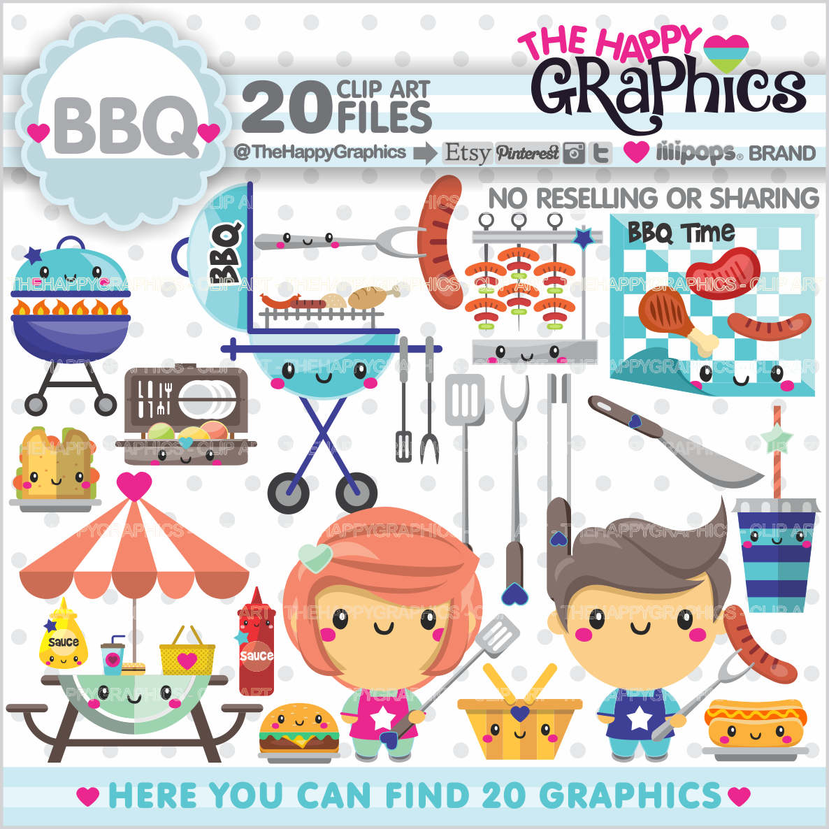 Barbecue clipart bbq time  Kawaii Clipart Graphics BBQ