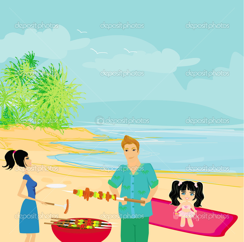 Barbecue clipart beach bbq Beach cartoon art at Clipart