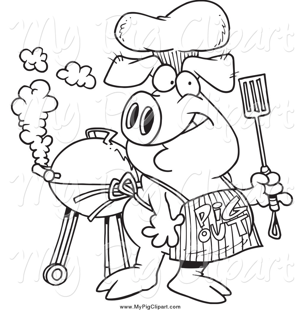 Barbecue clipart black and white Clipart Apron out Pig Swine