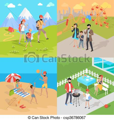 Vacation clipart family tourist Vector child vacation prepare Amusement