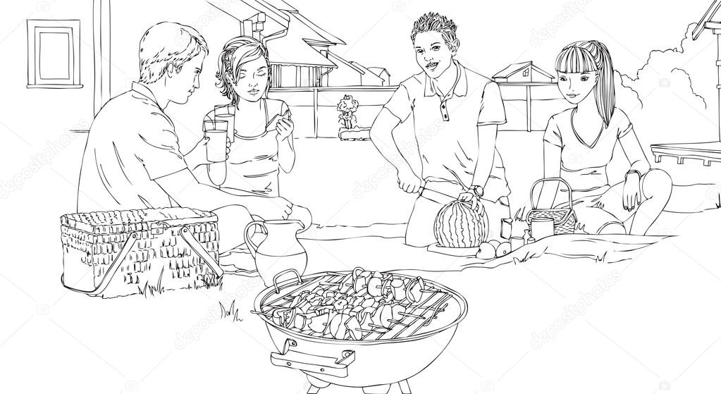 Barbecue clipart friends and family And having friends group family