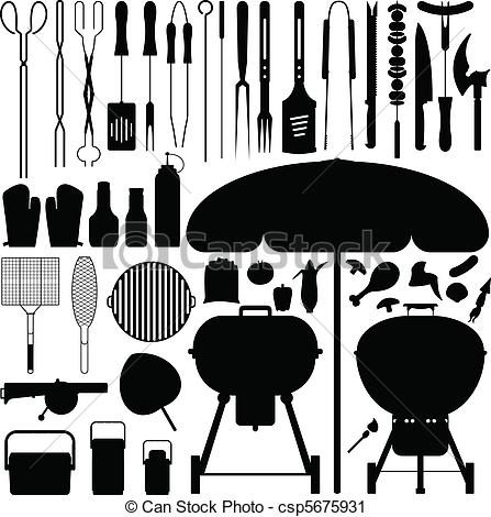Barbecue clipart grill tools Art Vector Set A large