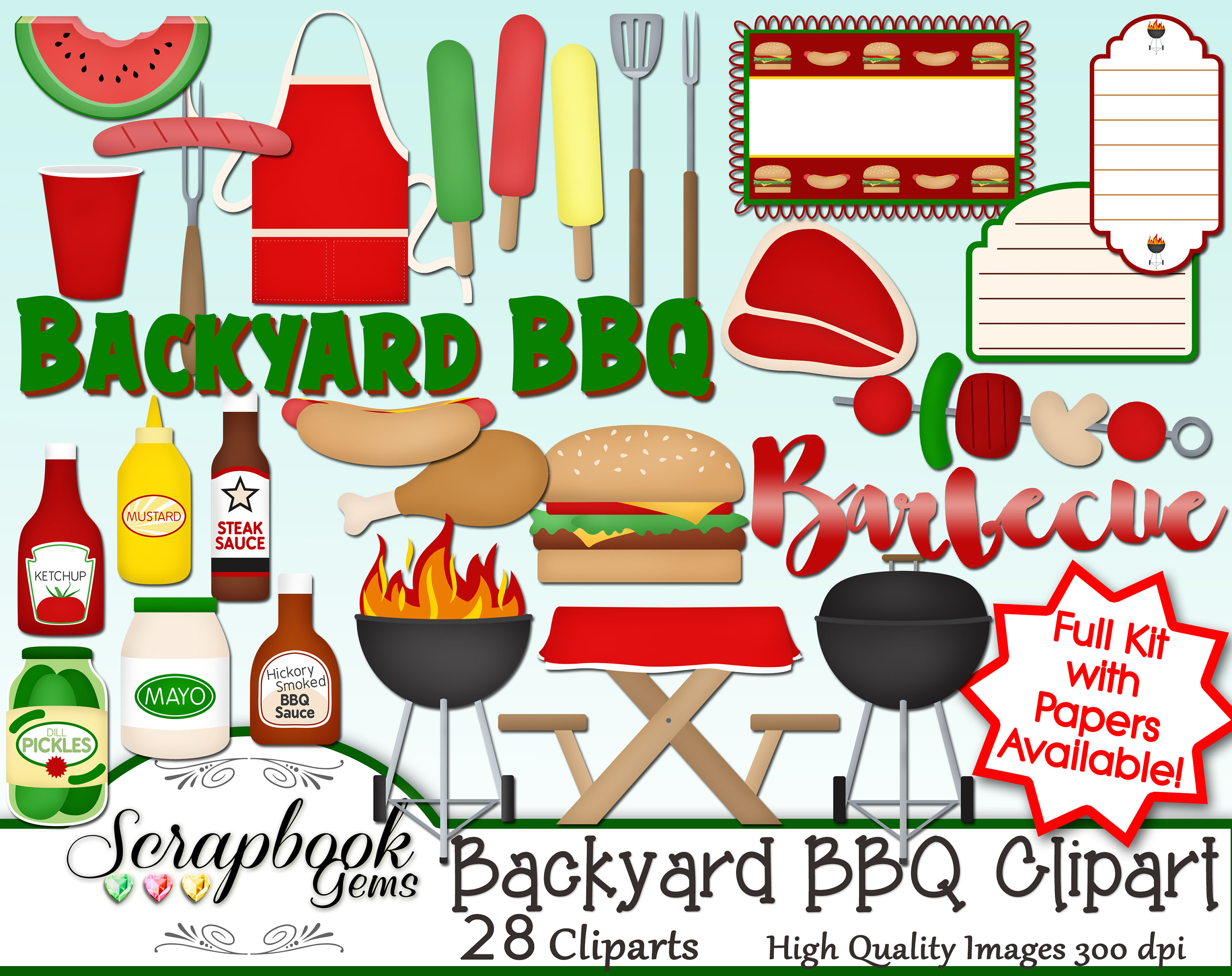 Barbecue Sauce clipart backyard bbq Digital a BACKYARD Clipart This