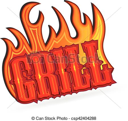 Barbecue clipart word Text Grill  word fire