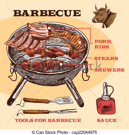 Barbecue Sauce clipart barbecue meat Set csp22044975  of bbq