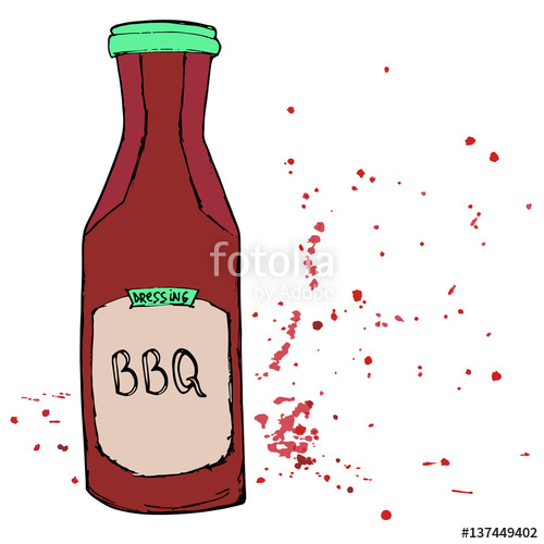Barbecue Sauce clipart condiment And dressing stains BBQ bottle