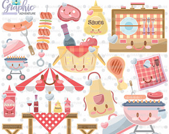 Barbecue Sauce clipart summer bbq Commercial Kawaii clipart Etsy Clipart