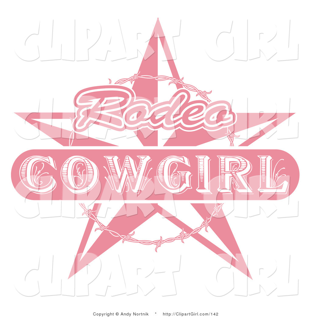 Cowgirl clipart background Pink Cowgirl Rodeo Barbed with