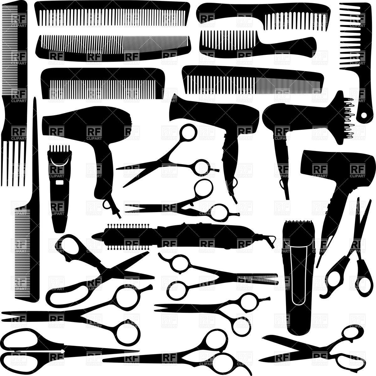 Barbet clipart stylist Equipment comb download hairdryer and