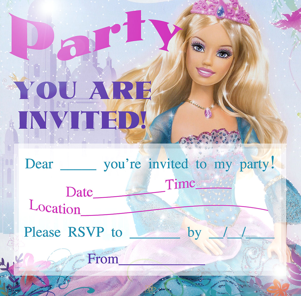 Barbie clipart birthday card PARTY PRINTABLE A INVITATIONS FOR