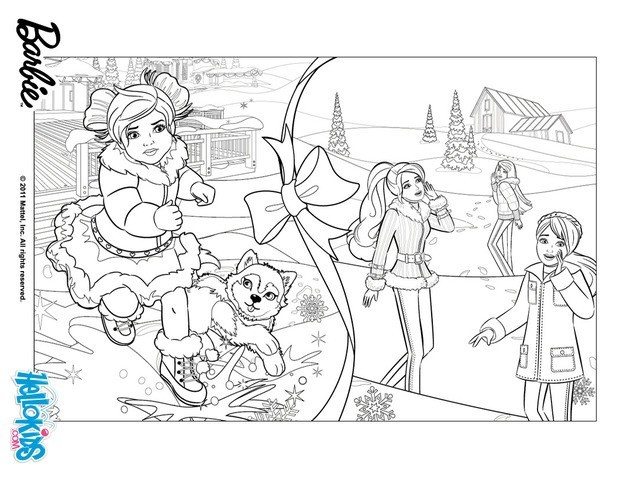 Barbie clipart christmas coloring Hellokids story snowy Barbie's pages