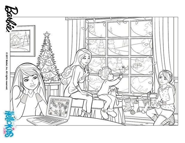Barbie clipart christmas coloring Christmas coloring in on PERFECT
