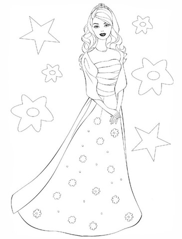 Barbie clipart christmas coloring Coloring of to Printable page