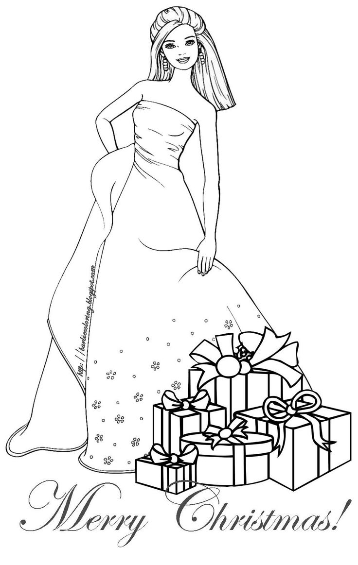 Barbie clipart christmas coloring Coloring Best Christmas Bing Images