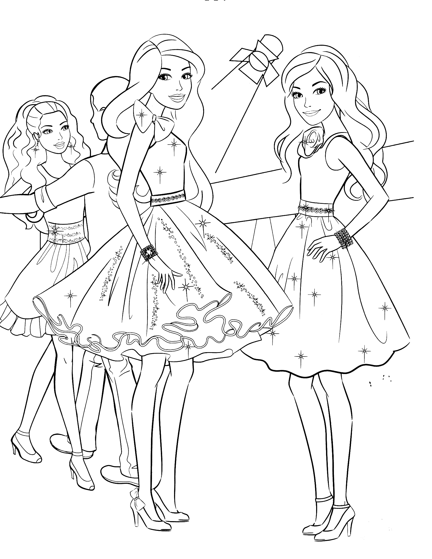 Barbie clipart colouring page fashion fairytale Fashion pages friends Pages Barbie