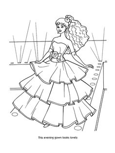 Barbie clipart colouring page fashion fairytale Women's pages  on victorian