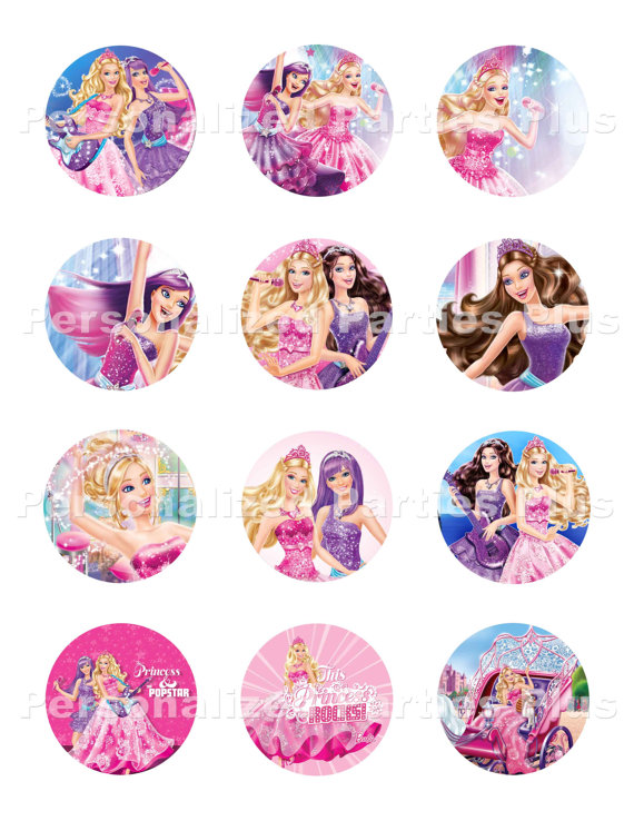 Barbie clipart cupcake topper Toppers 00 Stickers PartiesPlus /