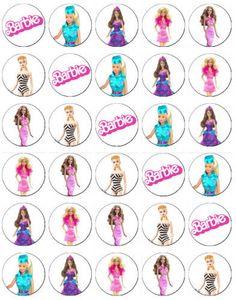 Barbie clipart cupcake topper Rice/Wafer Paper Barbie 48 Paper