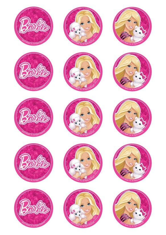 Barbie clipart cupcake topper Images designed aniver Barbie createacake