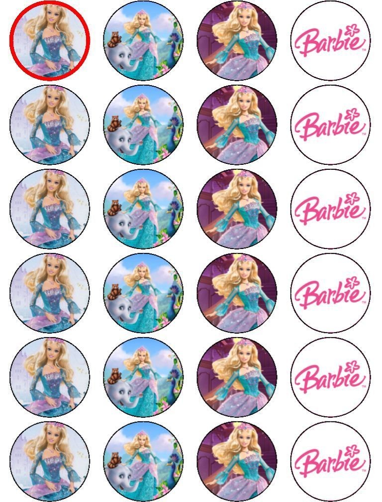 Barbie clipart cupcake topper Rice Rice PRINCESS BARBIE TOPPERS