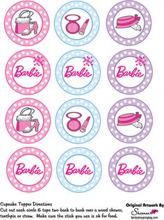Barbie clipart cupcake topper Barbie toppers Pinterest cupcake Barbie