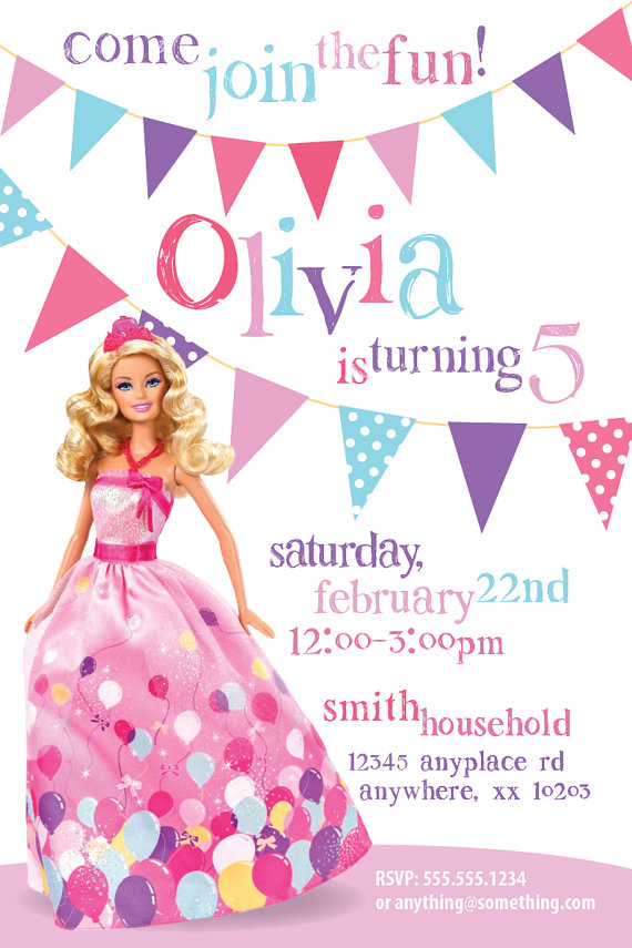Barbie clipart invitation Invitations Gallery Barbie Invitations: Party