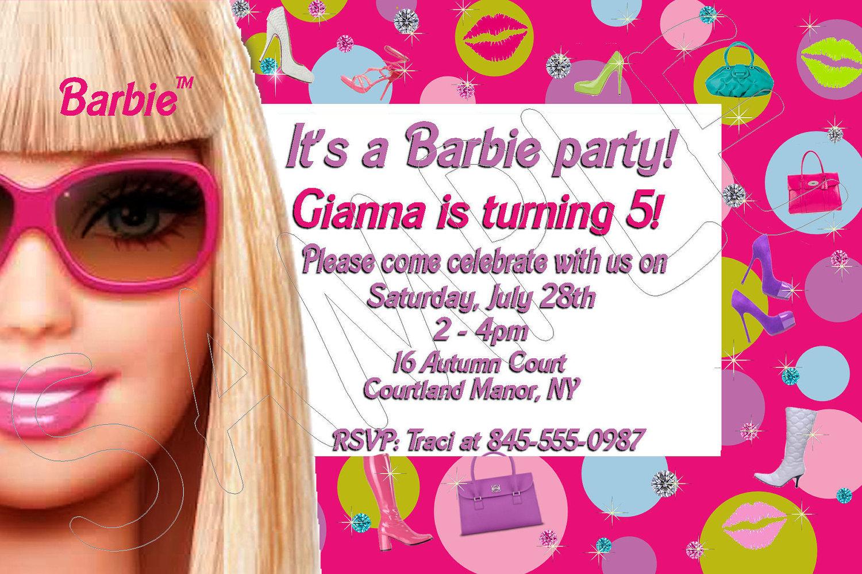 Barbie clipart invitation  Barbie Invitation Birthday Card