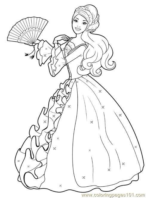 Drawn barbie frock Pages princess Barbie coloring (2