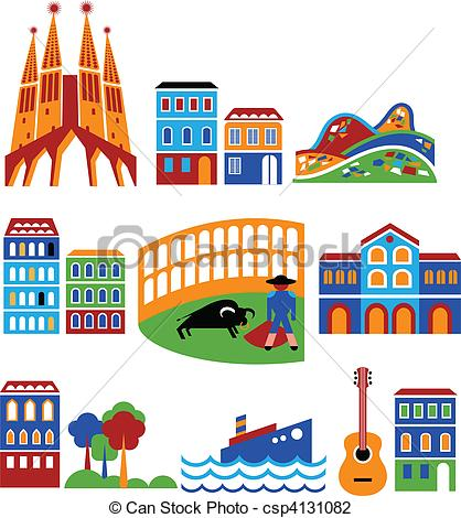 Barcelona clipart Attractions  csp4131082 Barcelona Illustration