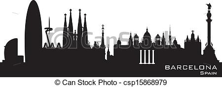 Barcelona clipart Barcelona  Spain Illustration skyline