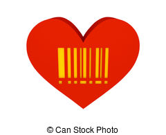 Barcode clipart heart Clip Red barcode  with