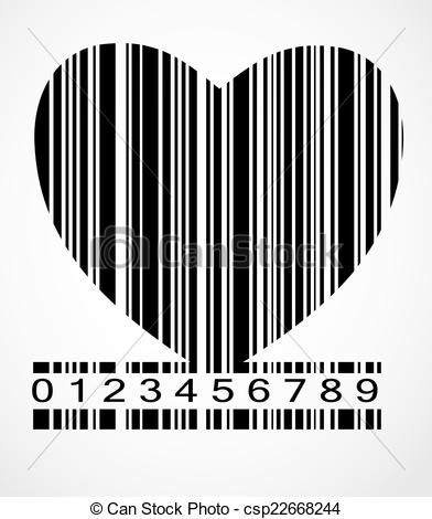 Barcode clipart heart  Black Barcode Illustration Illustration