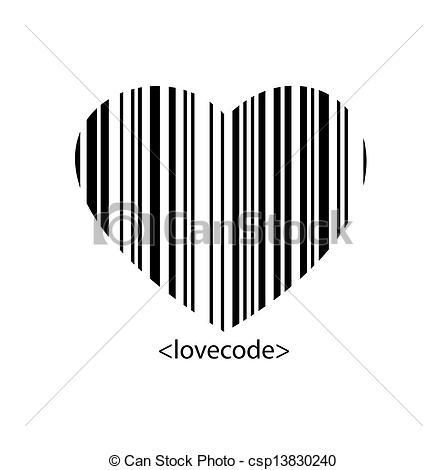 Barcode clipart heart Style barcode The shape The