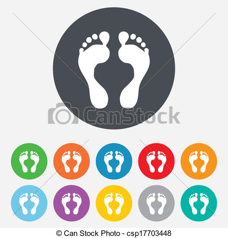 Footprint clipart vector Of Foot Barefoot sign icon