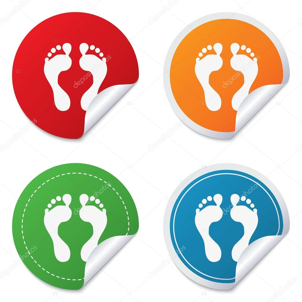 Barefoot clipart human footprint Circle Round footprint with sign