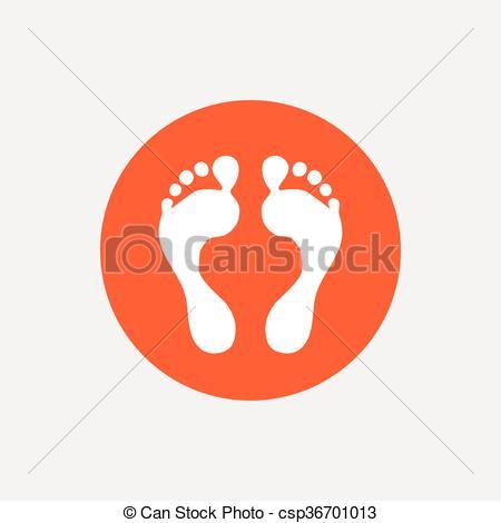 Barefoot clipart human footprint Button Orange footprint icon sign