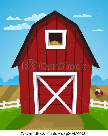 Drawn farm Cartoon Vector Red csp20974460 Barn