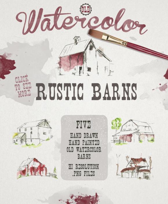 Barn clipart rustic barn Old Watercolor by barn Watercolor