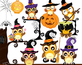 Barred Owl clipart cartoon halloween Halloween Clipart Clip  Cute