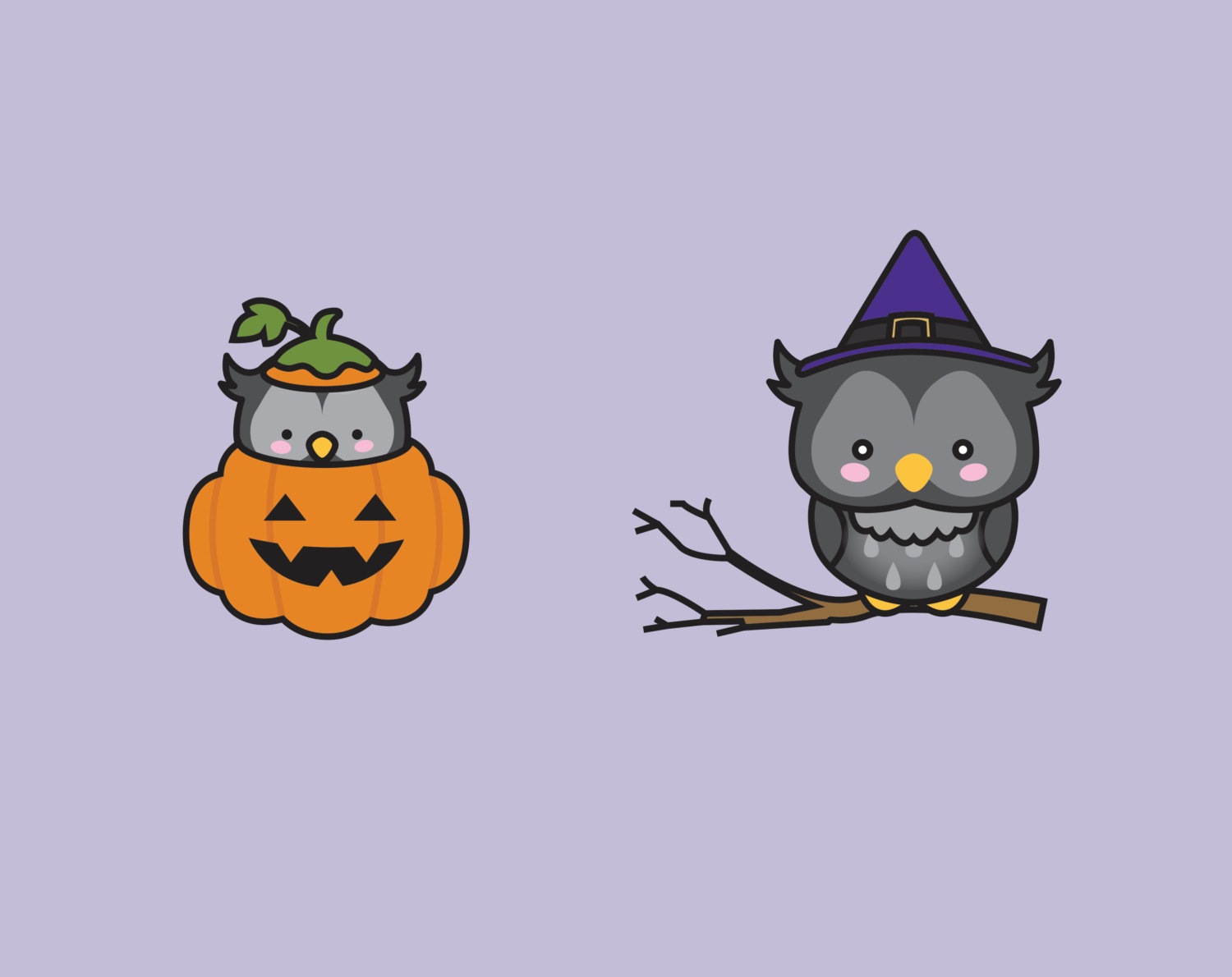 Barred Owl clipart cartoon halloween Kawaii Owls Cute  This