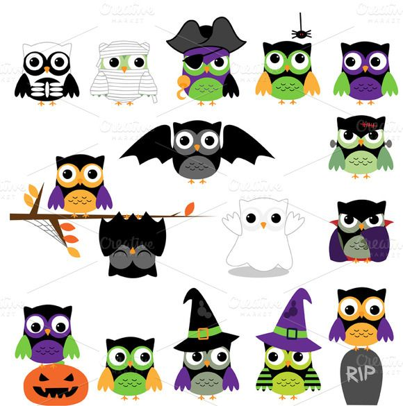 Barred Owl clipart cartoon halloween PinkPueblo ART Creative Market about