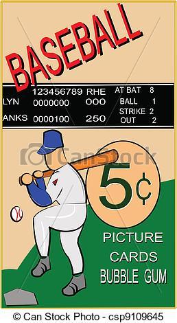 Baseball clipart baseball card Vector Clipart baseball retro of