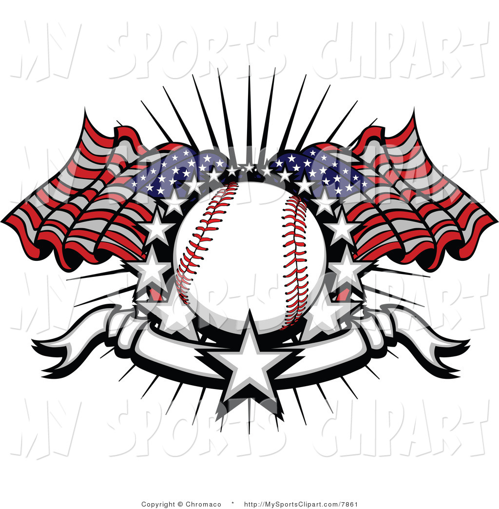 Baseball clipart american flag #10