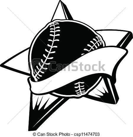 Baseball clipart banner Or Softball Star or csp11474703