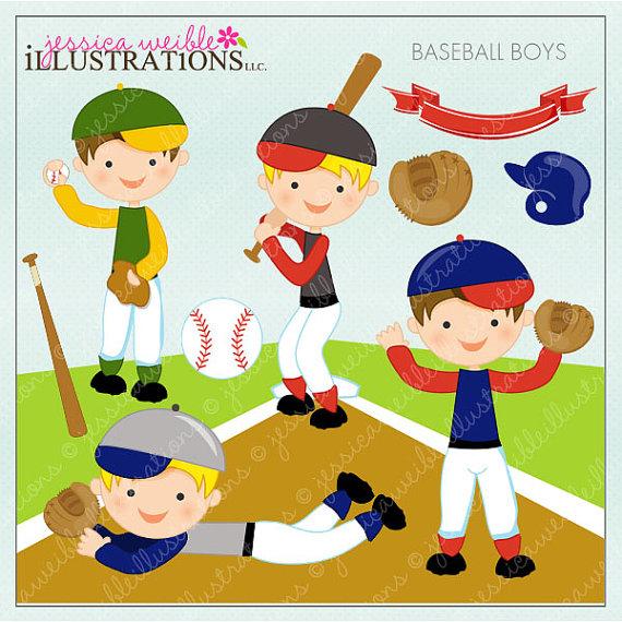 Baseball clipart cute Digital Clipart Cute Card Design