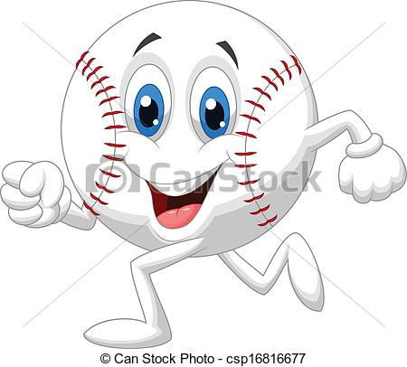 Baseball clipart cute Cartoon running ball Vectors of