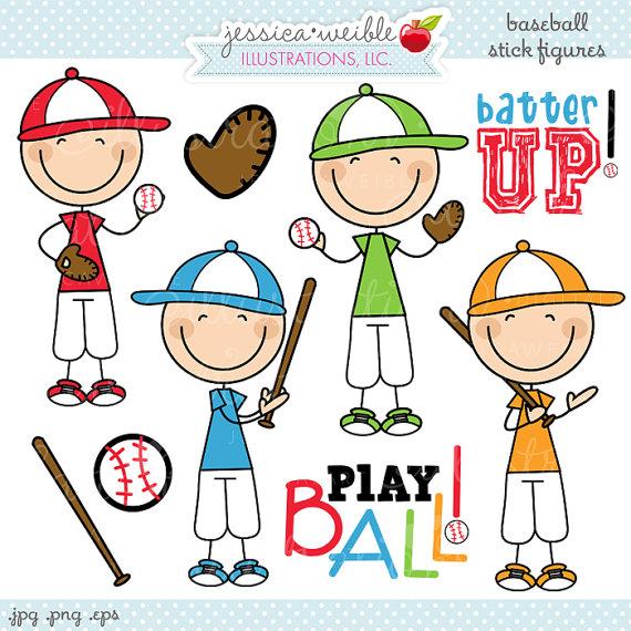 Baseball clipart cute Figures Cute Stick Clipart Digital