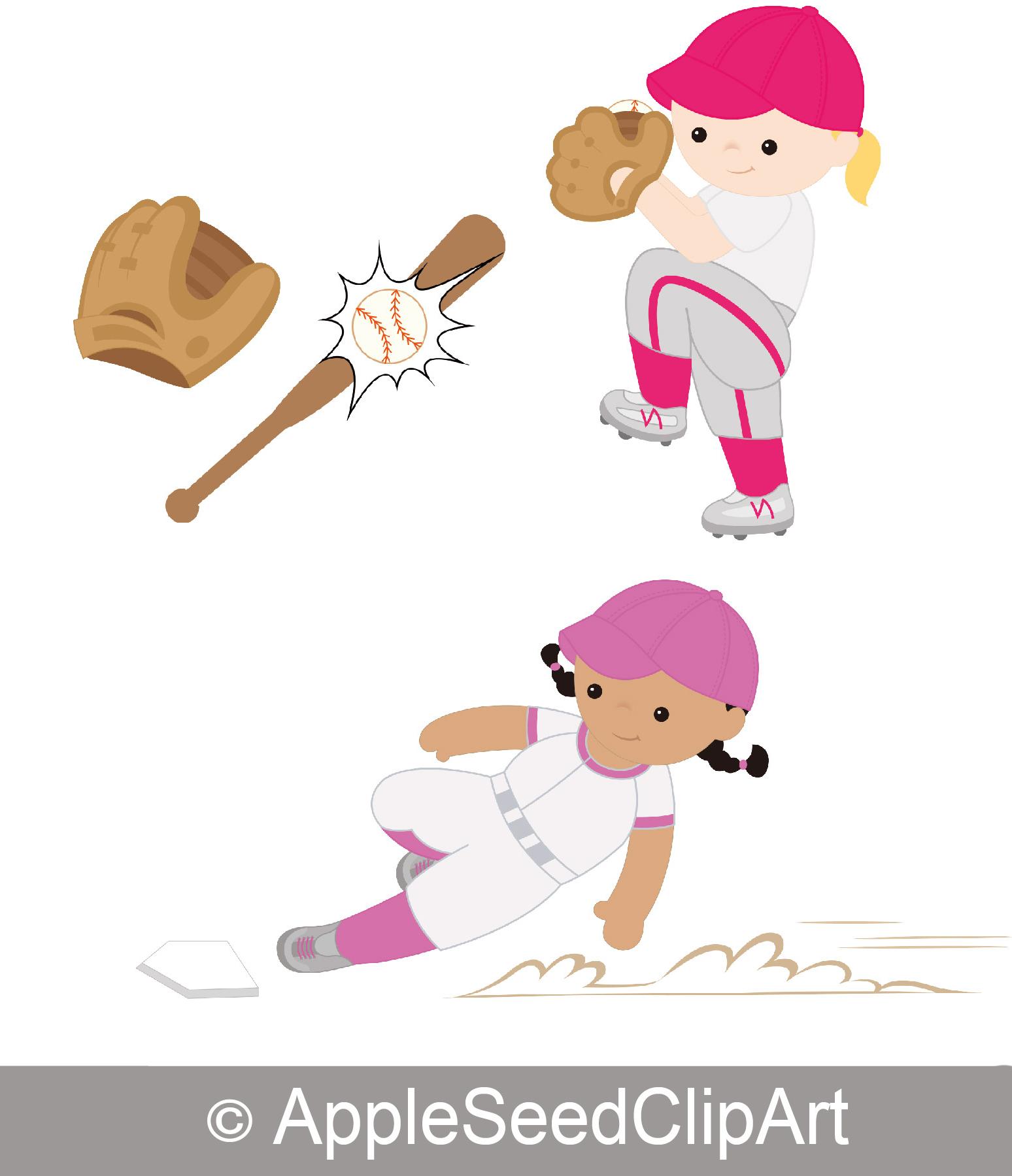Baseball clipart cute Players Baseball Baseball Digital Art